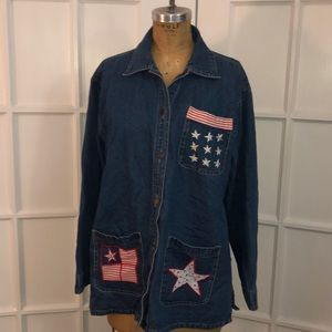 EUC vintage American flag denim button down shirt